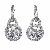 Maia's CZ Dangle Earrings - Round Cut