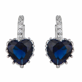 Makenzie's  Blue Crystal Heart Leverback Earrings