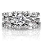 Malea's Silver Wedding Ring Trio Set