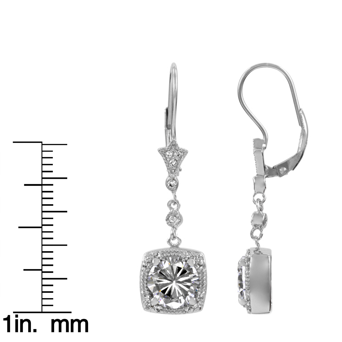 Margareta's Brilliant Cz Dangle Leverback Earrings