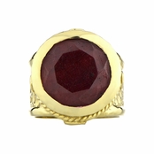 Margot's Goldtone Victorian Style Ring - Red CZ
