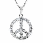 Mariana's Peace Sign CZ Necklace