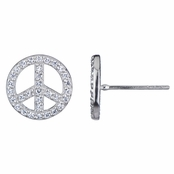 Mariana's Peace Sign CZ Stud Earrings