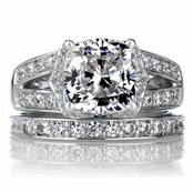 Marinel's Wedding Ring Set - Cushion Cut CZ