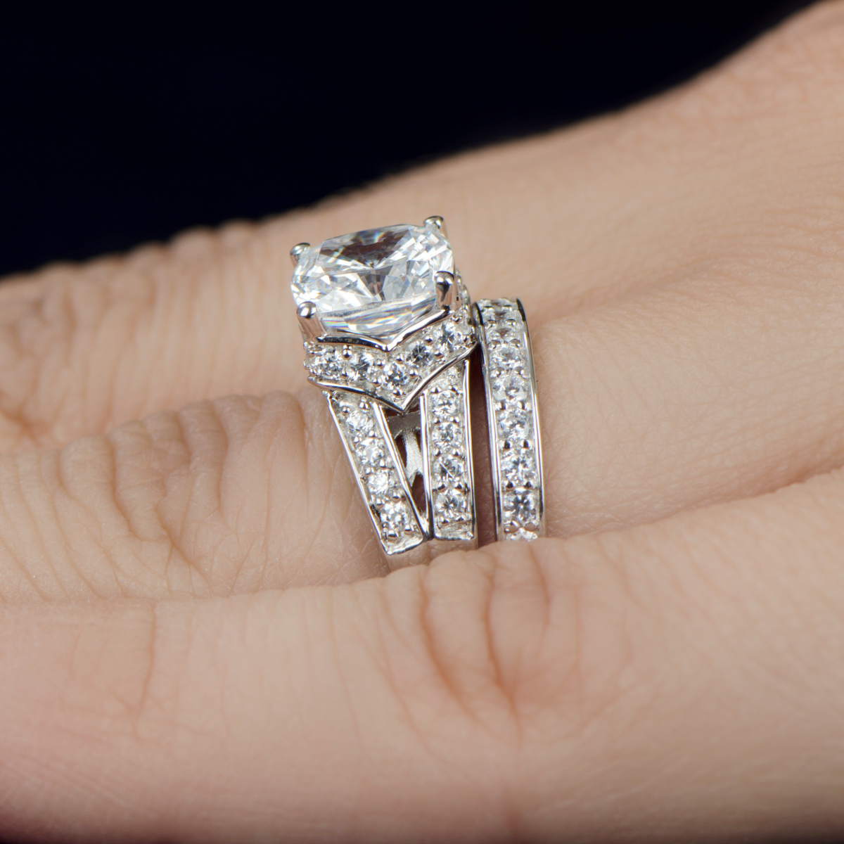 Wedding Ring Set Cushion Cut CZ