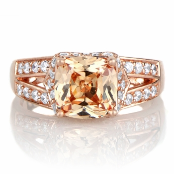Marinel's 2ct Rose Goldtone and Peach CZ Cushion Cut Engagement Ring