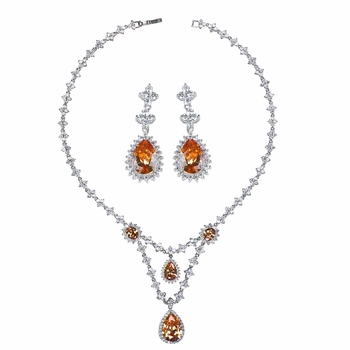 Marsha's Fancy CZ Pear Drop Necklace and Earring Set - Champagne