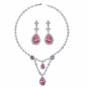 Marsha's Fancy CZ Pear Drop Necklace and Earring Set - Pink