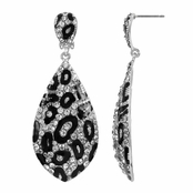 Matrina's Silvertone Fancy Leopard Print Dangle Earrings