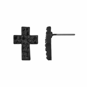 Melina's Black Petite Cross Rhinestone Stud Earrings