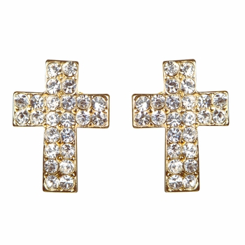 Melina's Goldtone Petite Cross Rhinestone Stud Earrings