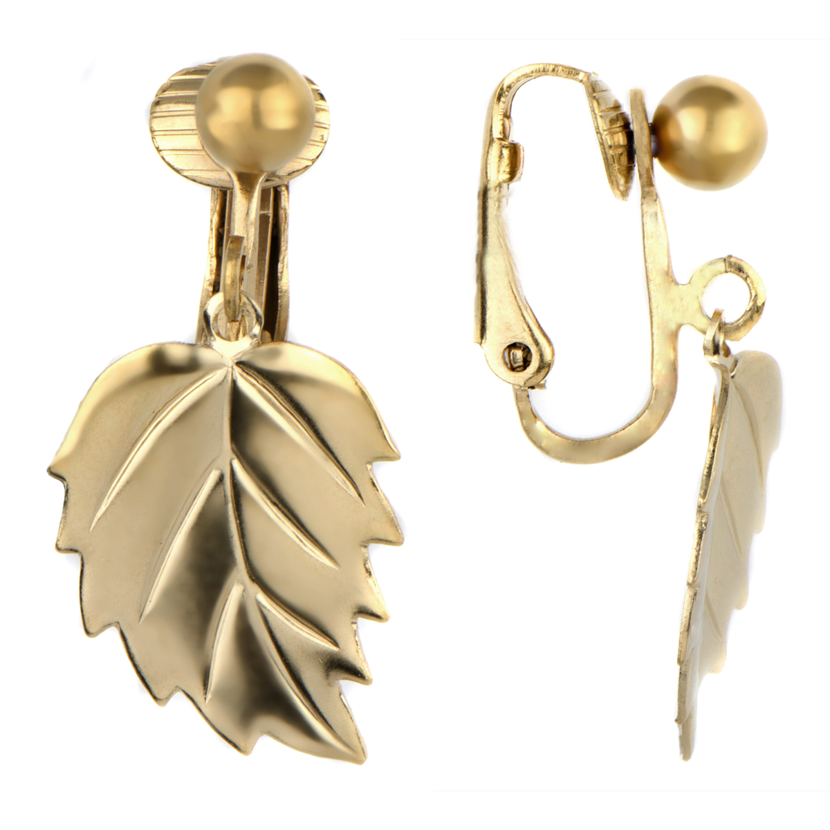 Mellie's Goldtone Dangle Leaf Clip On Earrings Roll Off Image To Close  Zoom Window