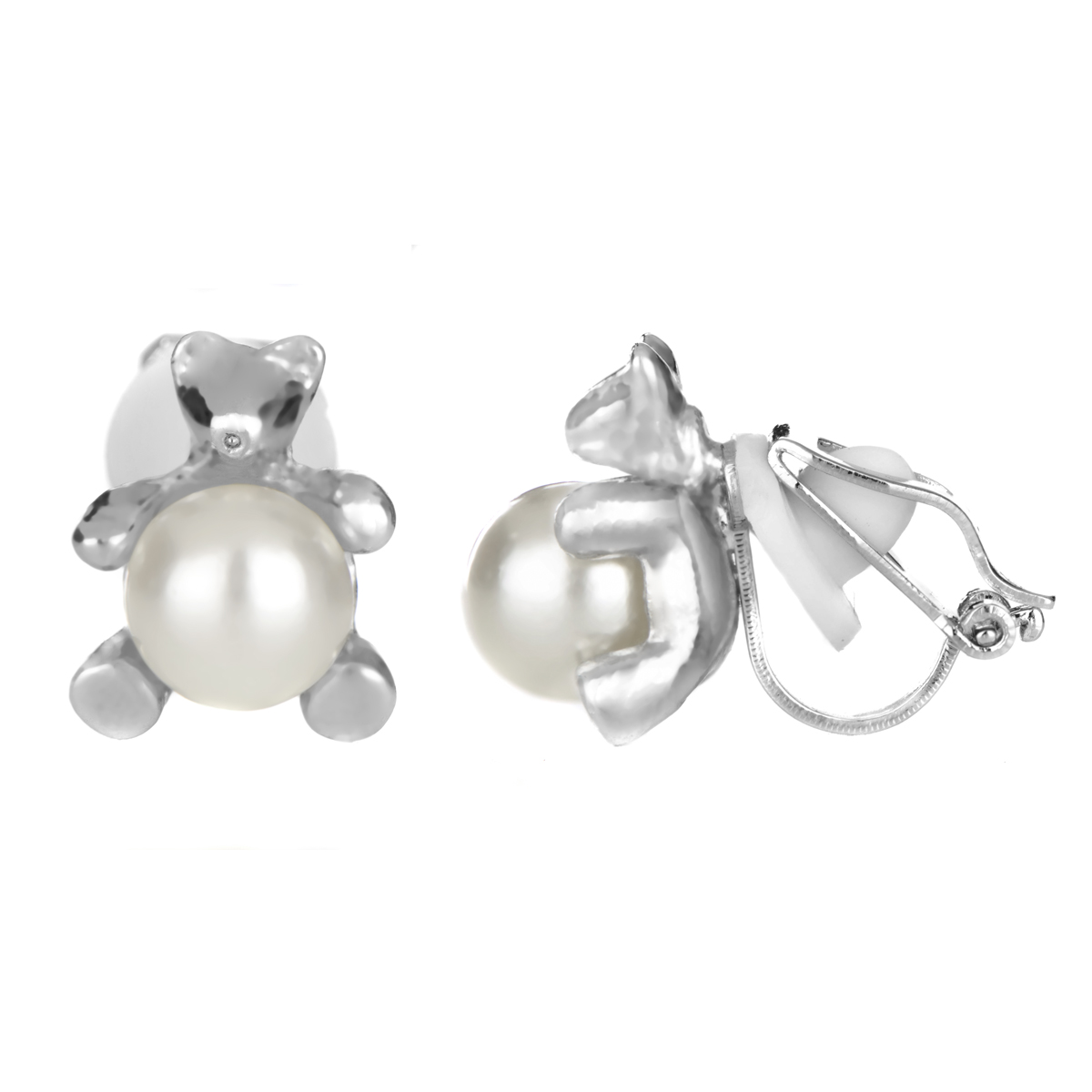 Melody's 8mm Imitation Pearl Teddy Bear Clip On Earrings Roll Off Image To  Close Zoom Window