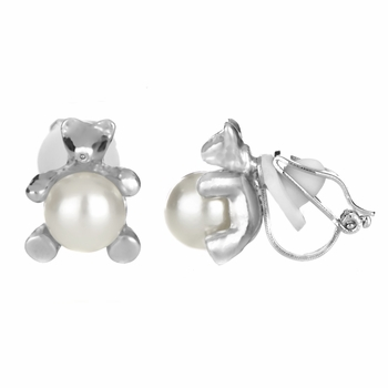 Melody's 8mm Imitation Pearl Teddy Bear Clip On Earrings