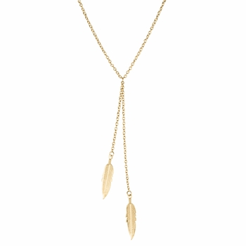 Merida's Goldtone Double Feather Y Necklace