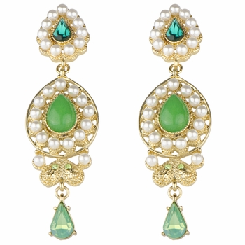 Meriel's Bollywood Style Green and Simulated Pearl Pear Drop Earrings