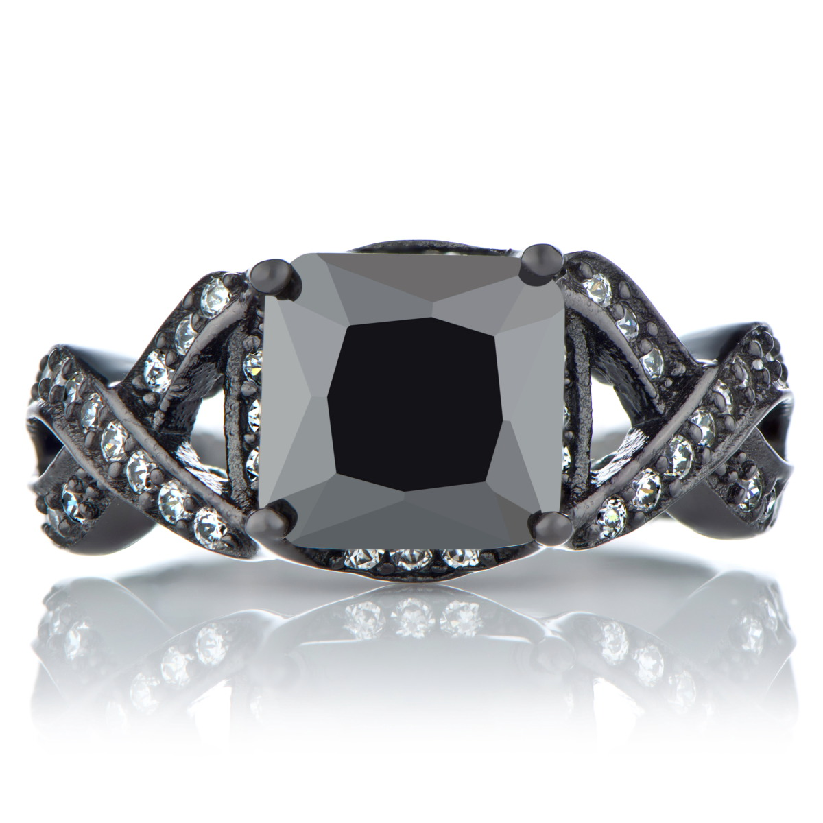 Millicent's Princess Cut Black Cz Engagement Ring