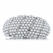 Mini's Fancy Silvertone Imitation Pearl and Rhinestone Bangle Bracelet