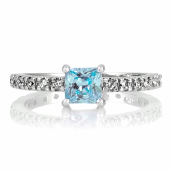 Minnie's Princess Cut CZ Promise Ring - 1 CT Blue CZ