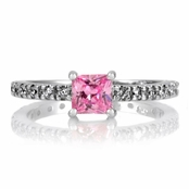 Minnie's Princess Cut CZ Promise Ring - 1 CT Pink CZ