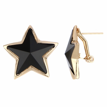 Mireille's Black & Goldtone Jumbo Star Earrings