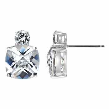 Mirna's 10.6 TCW Cushion Cut Cubic Zirconia Earrings- Clear