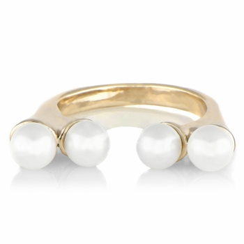 Nadya's Double Imitation Pearl Ring