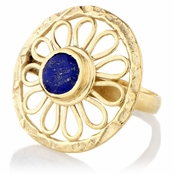 Blue Stone Goldtone Flower Cocktail Ring
