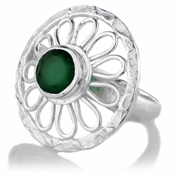 Green Stone Silvertone Flower Cocktail Ring