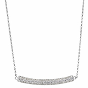 Natalie's Silvertone Triple Row Curved Pave CZ Necklace