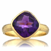 Nev's Goldtone Purple CZ Cushion Cut Right Hand Ring
