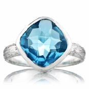 Nev's Light Blue CZ Cushion Cut Right Hand Ring