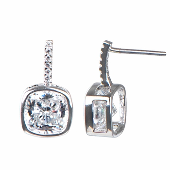 Nicki's 4 TCW Bezel Set Cushion Cut CZ Earrings