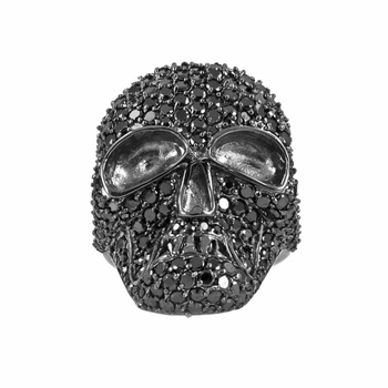 Nicolae's Black CZ Skull Cocktail Ring