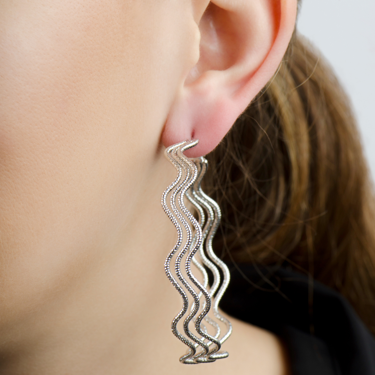Nicole's 63m Silvertone 70's Style Hoop Earrings