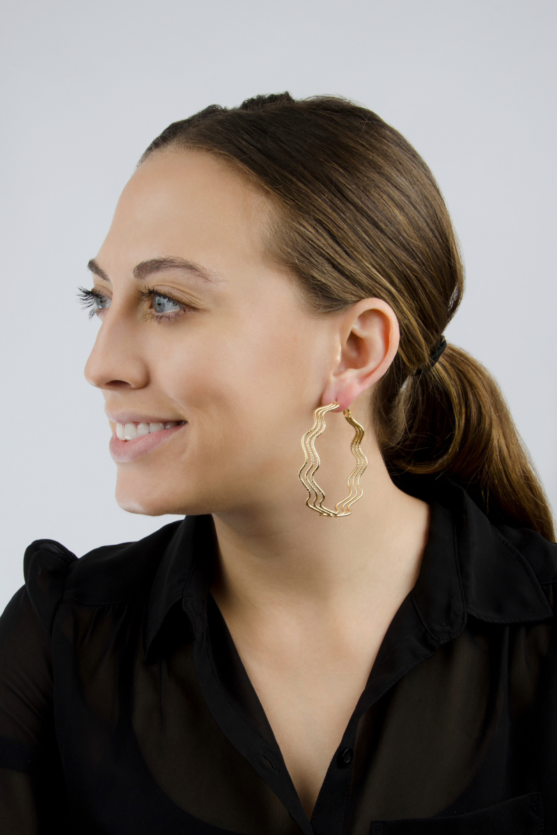 Nicole's 63mm Goldtone 70's Style Hoop Earrings