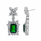 Night at the Oscars Fancy Green CZ Dangle Earrings