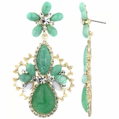 Nima's Green Stone and Goldtone Fashion Pear Drop Earrings
