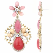 Nima's Pink Stone and Goldtone Fashion Pear Drop Earrings