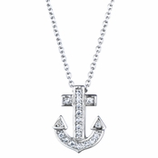 Nina's Cubic Zirconia Anchor Charm Necklace
