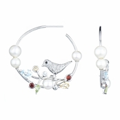 Nissa's Bird and Pearl Hoop Earrings