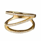 Noella's Gold Plated CZ Triple Row Cocktail Ring