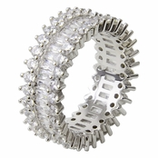 Brilliant Baguette and Round cut CZ Eternity Band