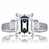 Norah's Engagement Vintage Ring - Emerald Cut CZ