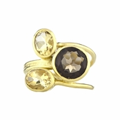 Nori's Yellow CZ Three Stone Cocktail Ring - Goldtone
