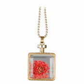 Olive's Gold Dried Flower Glass Locket Necklace - Red