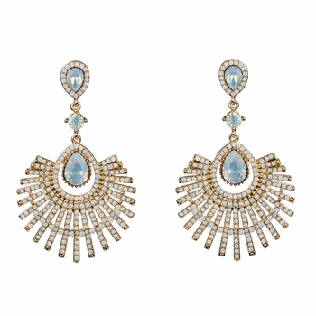 Omaria's Teardrop Fan Crystal Rhinestone Dangle Evening Earrings
