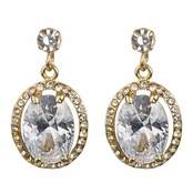 Morgan's Oval CZ Dangle Earrings - Goldtone