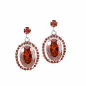 Morgan's Oval CZ Dangle Earrings - Red CZ