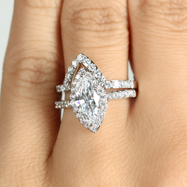 Marquise Cut CZ Engagement Ring Guard